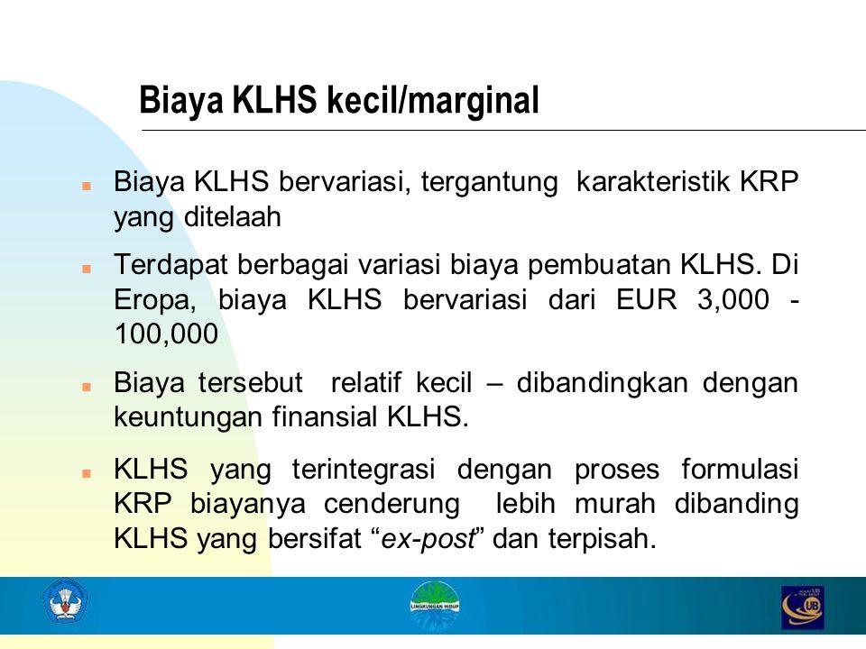 Biaya KLHS kecil/marginal n Biaya KLHS bervariasi, tergantung karakteristik KRP yang ditelaah n Terdapat berbagai variasi biaya pembuatan KLHS. Di Ero