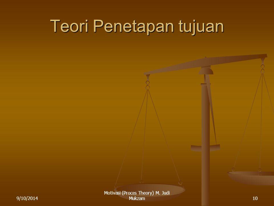Teori Penetapan tujuan 9/10/201410 Motivasi (Proces Theory) M. Judi Mukzam