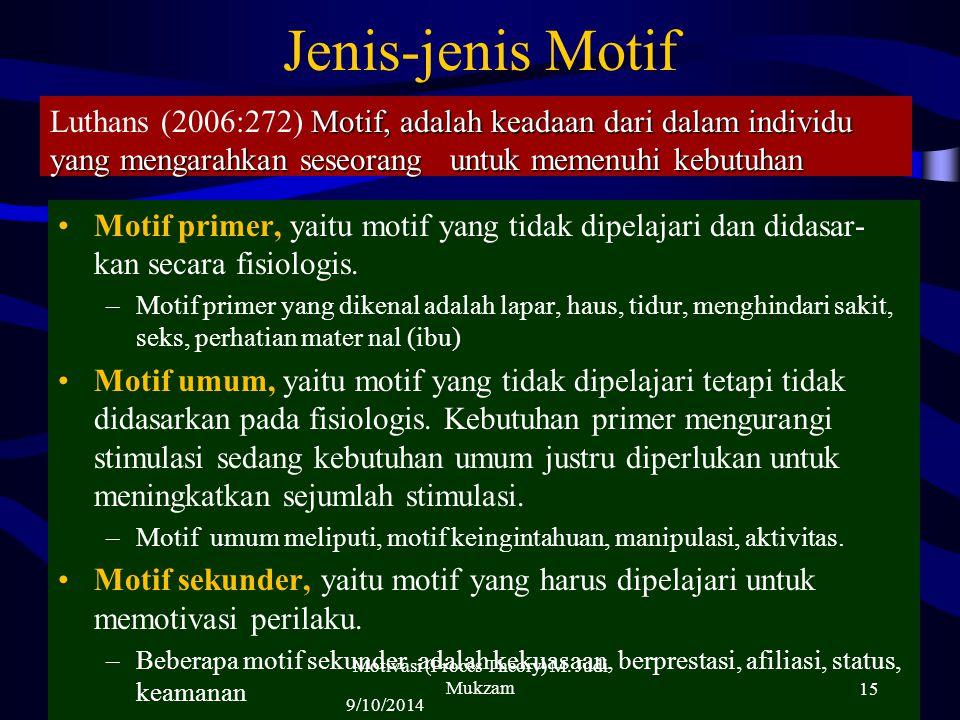 Jenis-jenis Motif Motif primer, yaitu motif yang tidak dipelajari dan didasar- kan secara fisiologis. –Motif primer yang dikenal adalah lapar, haus, t