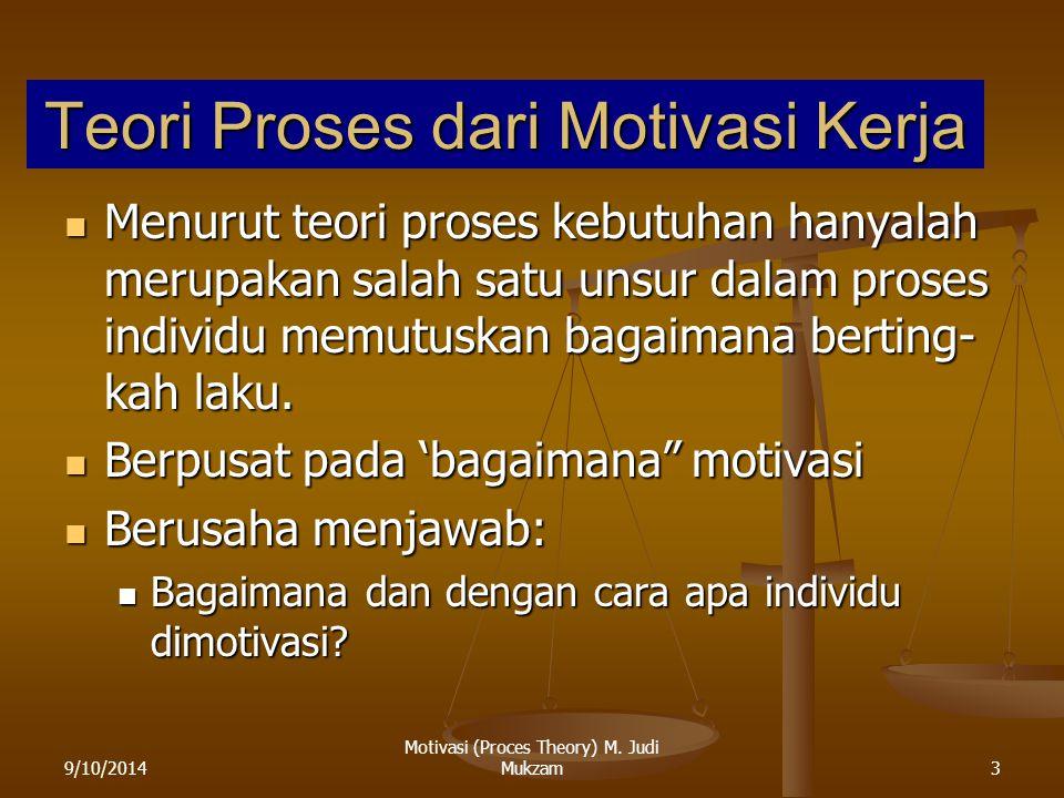 9/10/20143 Teori Proses dari Motivasi Kerja Menurut teori proses kebutuhan hanyalah merupakan salah satu unsur dalam proses individu memutuskan bagaim