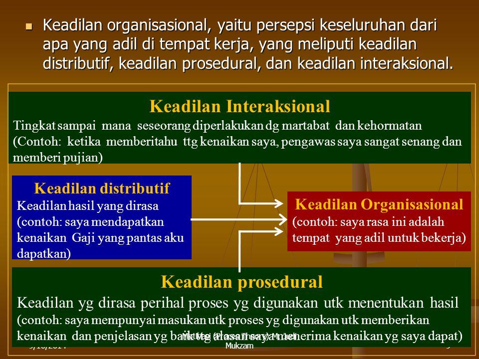 9/10/20149 Keadilan organisasional, yaitu persepsi keseluruhan dari apa yang adil di tempat kerja, yang meliputi keadilan distributif, keadilan prosedural, dan keadilan interaksional.