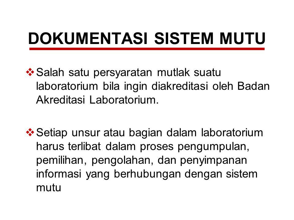 DOKUMENTASI SISTEM MUTU  digunakan oleh laboratorium pengujian dan/atau laboratorium kalibrasi sebagai acuan yang pasti untuk penerapan sistem mutu sehingga dapat menjaga konsistensi mutu data hasil uji dan/atau kalibrasi.