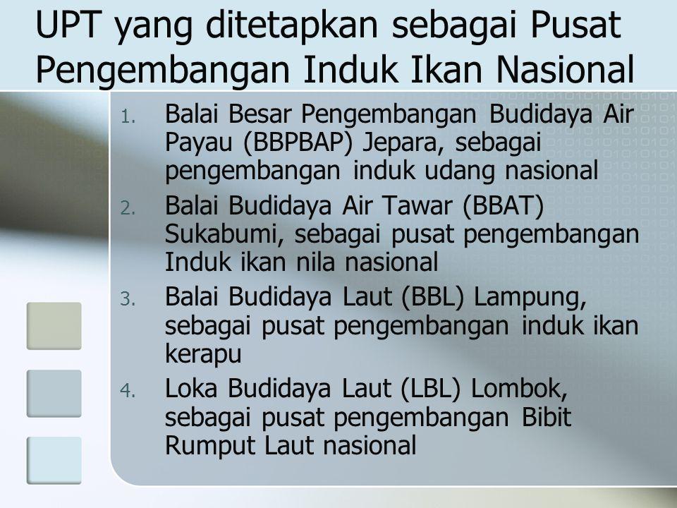 UPT yang ditetapkan sebagai Pusat Pengembangan Induk Ikan Nasional 1. Balai Besar Pengembangan Budidaya Air Payau (BBPBAP) Jepara, sebagai pengembanga
