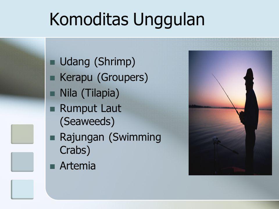 Komoditas Unggulan Udang (Shrimp) Kerapu (Groupers) Nila (Tilapia) Rumput Laut (Seaweeds) Rajungan (Swimming Crabs) Artemia