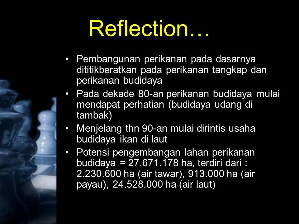 Reflection… Pembangunan perikanan pada dasarnya dititikberatkan pada perikanan tangkap dan perikanan budidaya Pada dekade 80-an perikanan budidaya mul