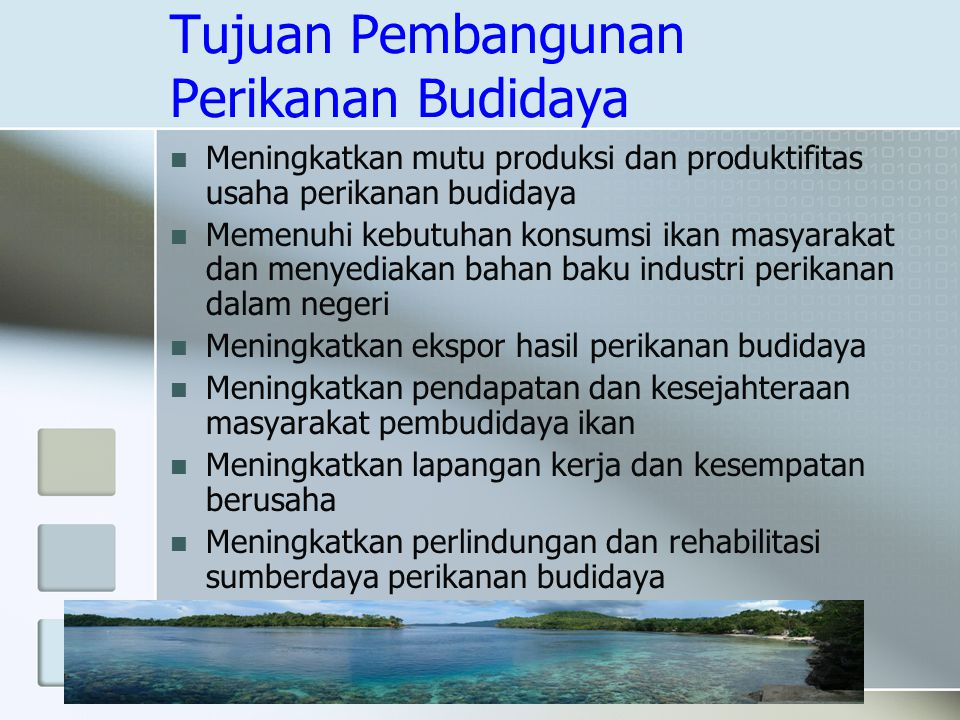 Tujuan Pembangunan Perikanan Budidaya Meningkatkan mutu produksi dan produktifitas usaha perikanan budidaya Memenuhi kebutuhan konsumsi ikan masyaraka