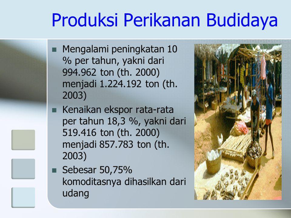 Produksi Perikanan Budidaya Mengalami peningkatan 10 % per tahun, yakni dari 994.962 ton (th. 2000) menjadi 1.224.192 ton (th. 2003) Kenaikan ekspor r