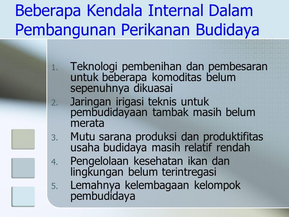 Beberapa Kendala Internal Dalam Pembangunan Perikanan Budidaya 1. Teknologi pembenihan dan pembesaran untuk beberapa komoditas belum sepenuhnya dikuas
