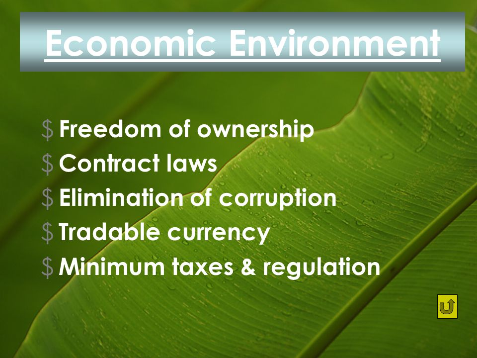 Economic Environment $ Freedom of ownership $ Contract laws $ Elimination of corruption $ Tradable currency $ Minimum taxes & regulation