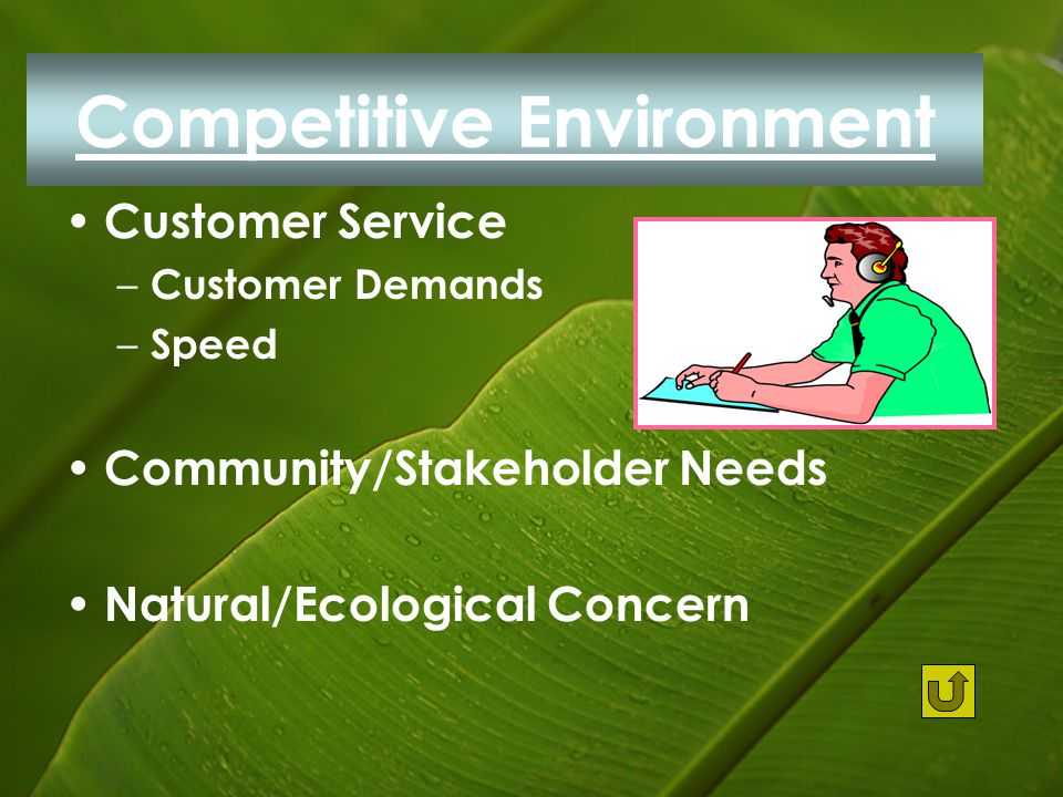 Competitive Environment Customer Service – Customer Demands – Speed Community/Stakeholder Needs Natural/Ecological Concern