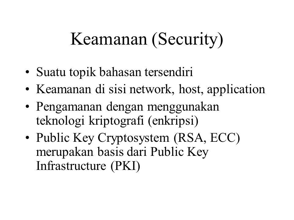 Keamanan (Security) Suatu topik bahasan tersendiri Keamanan di sisi network, host, application Pengamanan dengan menggunakan teknologi kriptografi (en