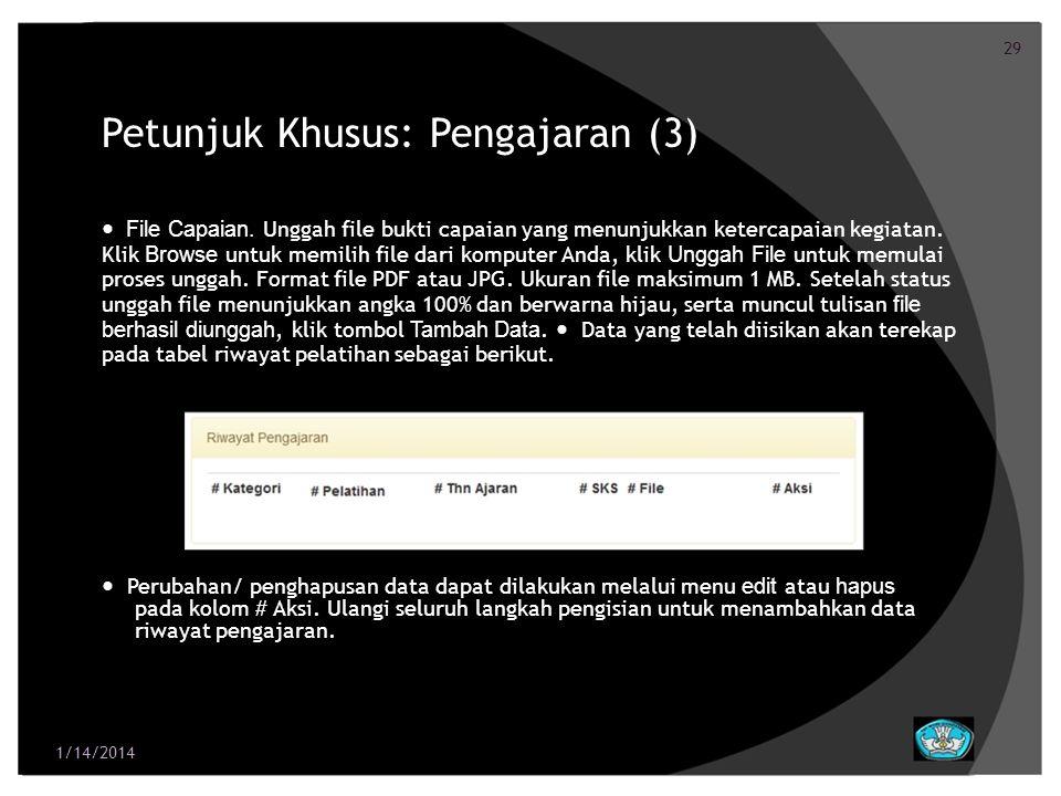 30 Petunjuk Khusus: Penelitian dan Pengembangan Ilmu (1) 1/14/2014