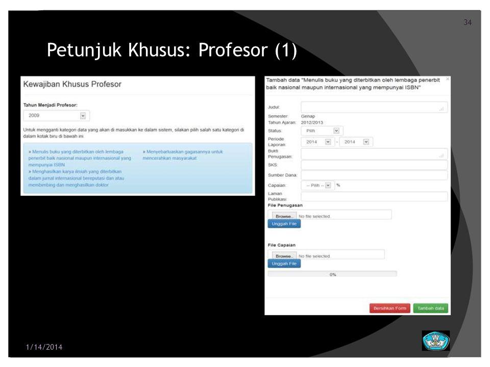 34 Petunjuk Khusus: Profesor (1) 1/14/2014