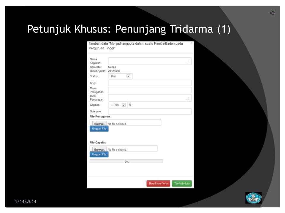 42 Petunjuk Khusus: Penunjang Tridarma (1) 1/14/2014