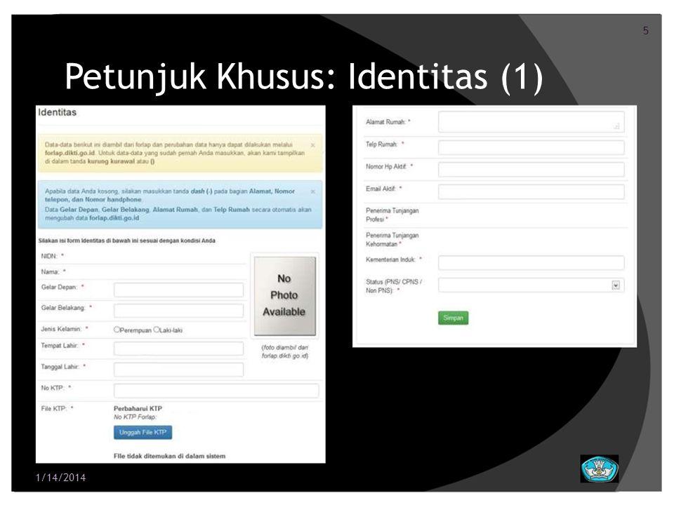 6 Petunjuk Khusus: Identitas (2) NIDN.