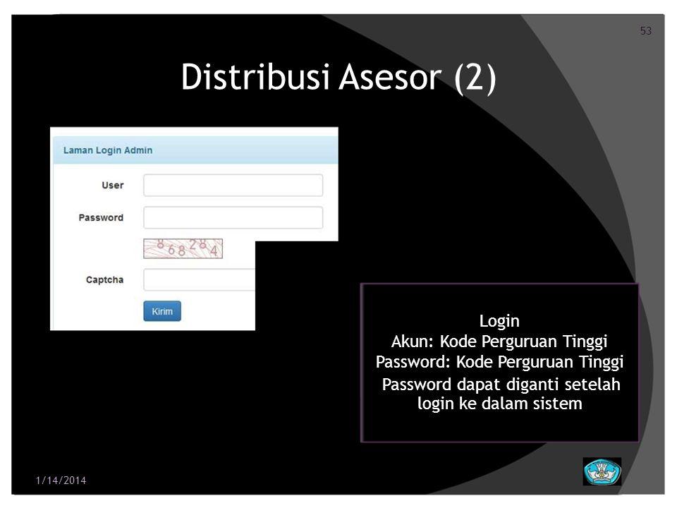 53 Distribusi Asesor (2) Login Akun: Kode Perguruan Tinggi Password: Kode Perguruan Tinggi Password dapat diganti setelah login ke dalam sistem 1/14/2