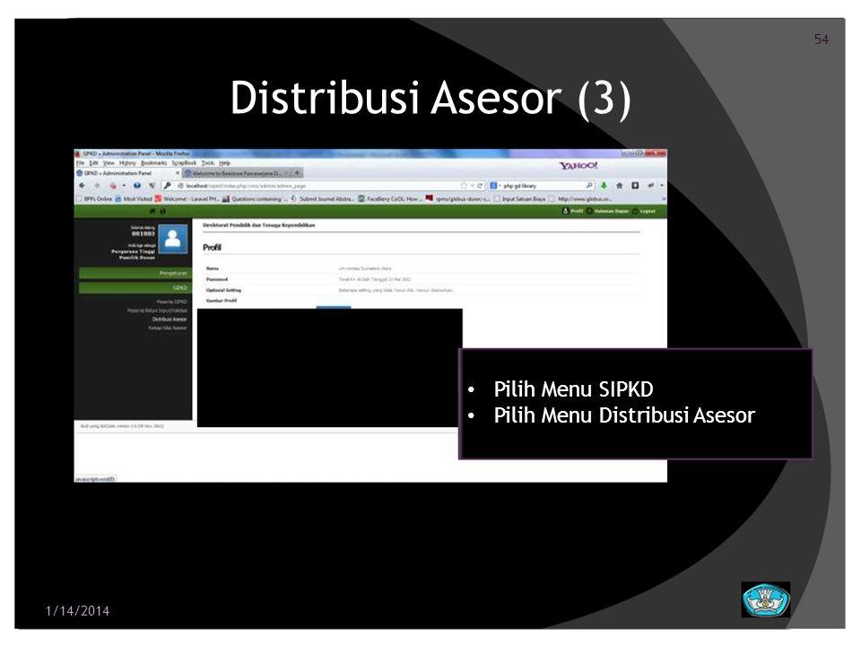 55 Distribusi Asesor (4) Distribusikan Asesor Untuk Seluruh Dosen Pilih nama asesor yang memiliki bidang ilmu yang sama dengan dosen Klik Simpan apabila pemilihan asesor 1/14/2014 telah selesai dilakukan