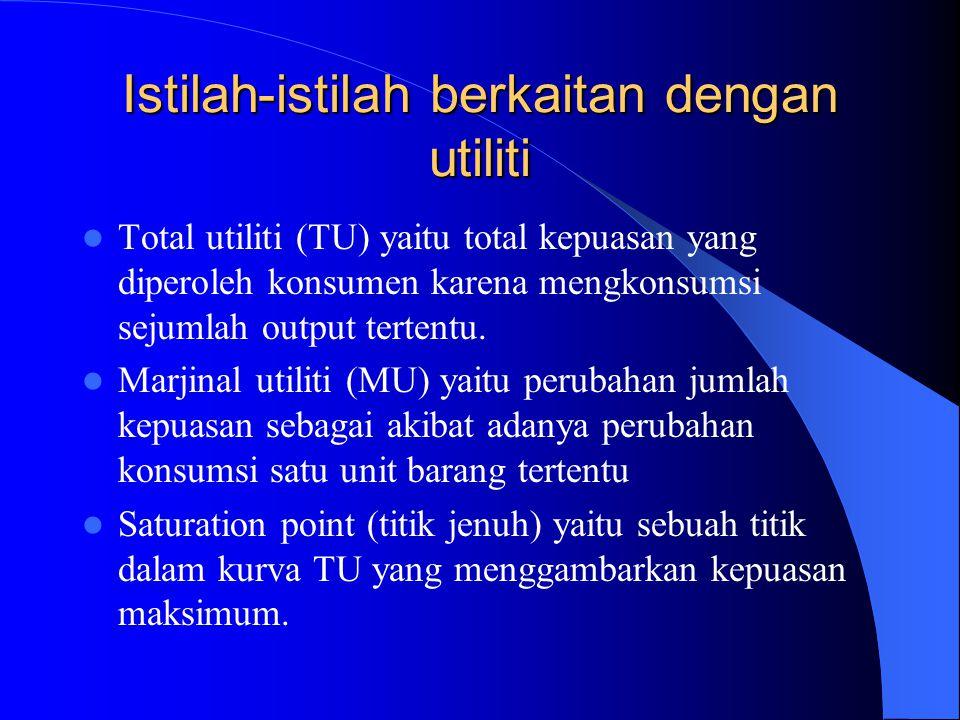 Istilah-istilah berkaitan dengan utiliti Total utiliti (TU) yaitu total kepuasan yang diperoleh konsumen karena mengkonsumsi sejumlah output tertentu.