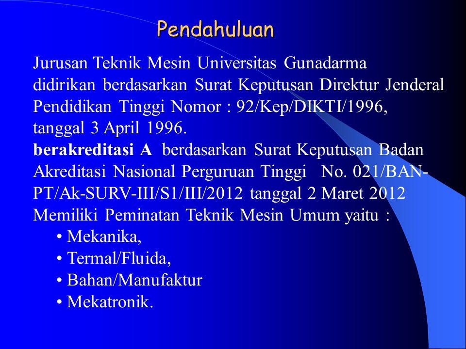 Pendahuluan Jurusan Teknik Mesin Universitas Gunadarma didirikan berdasarkan Surat Keputusan Direktur Jenderal Pendidikan Tinggi Nomor : 92/Kep/DIKTI/