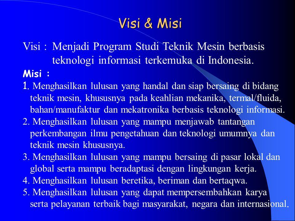 Visi & Misi Visi :Menjadi Program Studi Teknik Mesin berbasis teknologi informasi terkemuka di Indonesia. Misi : 1. Menghasilkan lulusan yang handal d