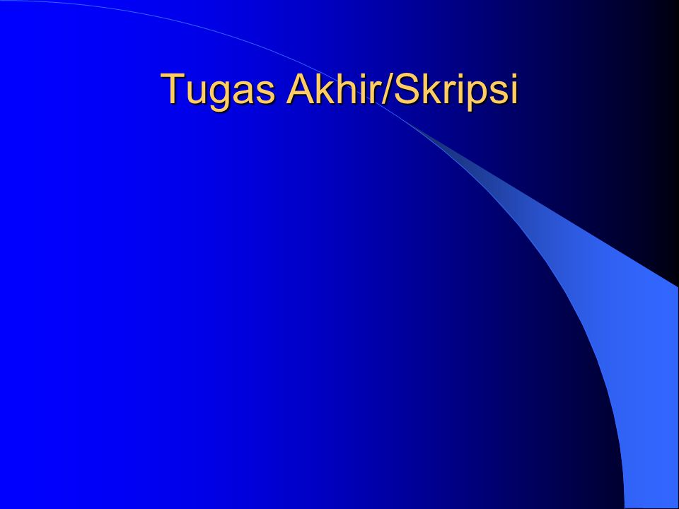 Tugas Akhir/Skripsi