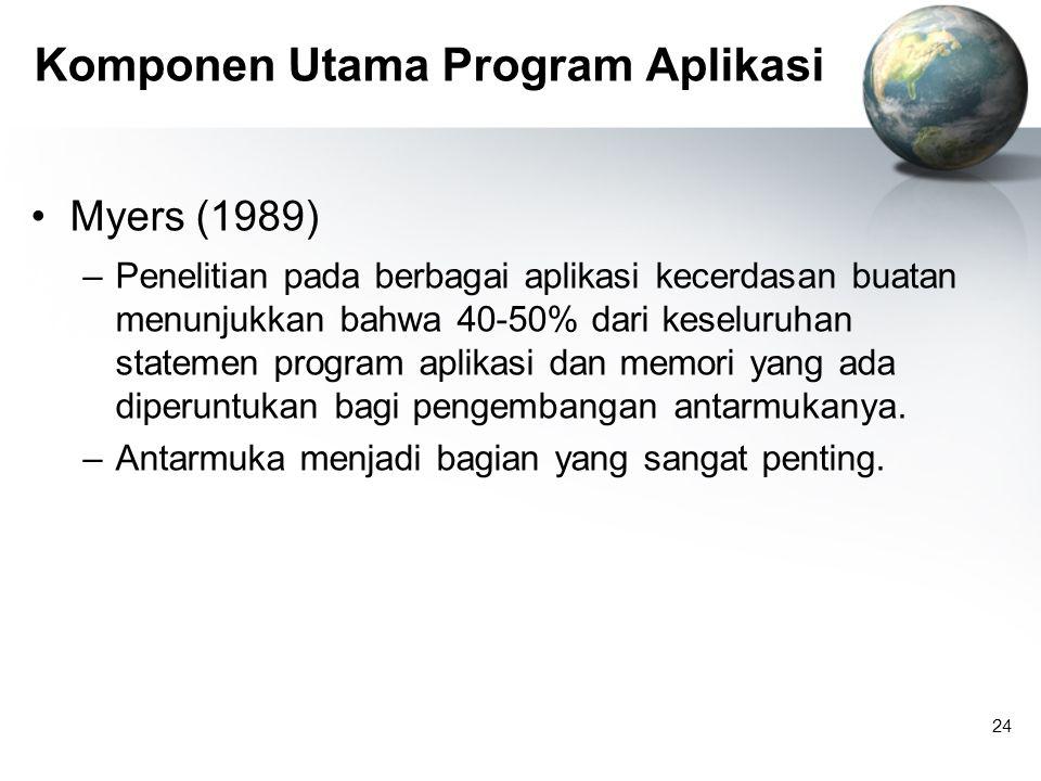 24 Komponen Utama Program Aplikasi Myers (1989) –Penelitian pada berbagai aplikasi kecerdasan buatan menunjukkan bahwa 40-50% dari keseluruhan statemen program aplikasi dan memori yang ada diperuntukan bagi pengembangan antarmukanya.