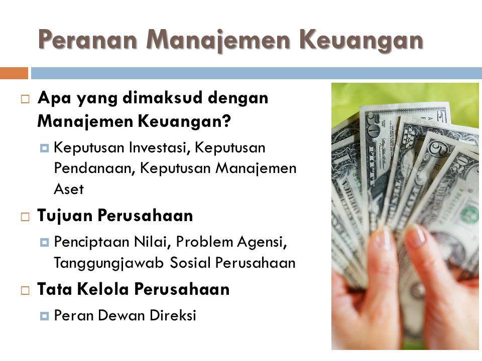 Peranan Manajemen Keuangan  Apa yang dimaksud dengan Manajemen Keuangan.