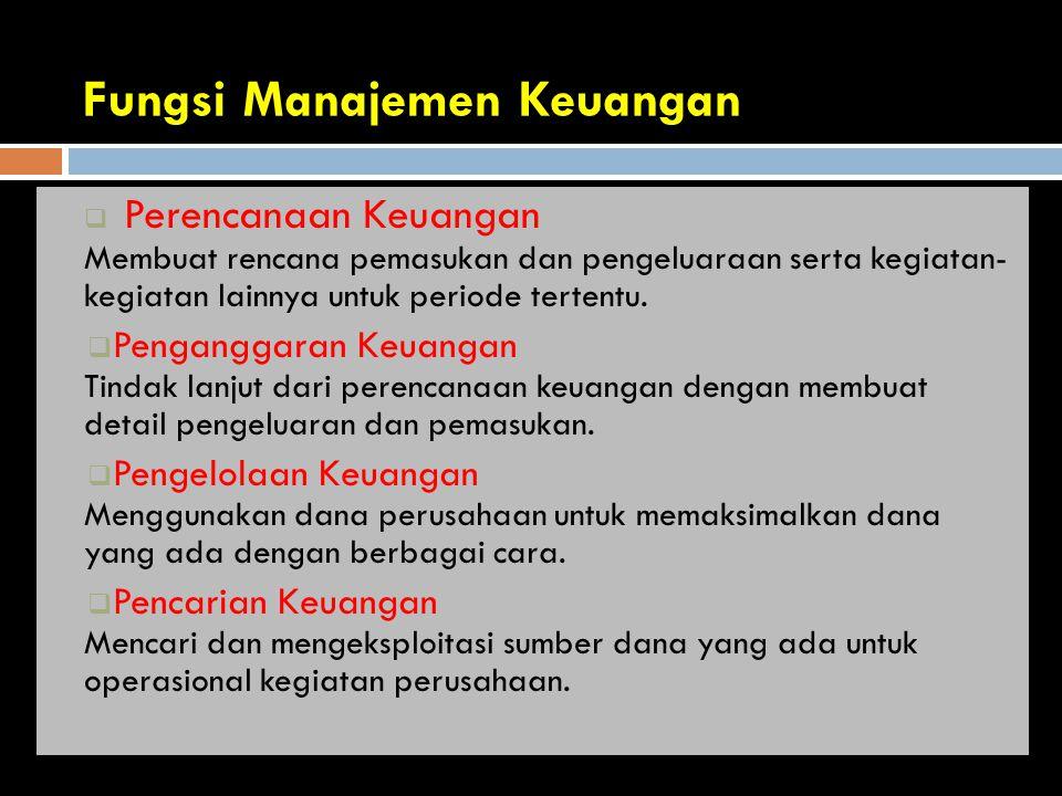 Fungsi Manajemen Keuangan  Perencanaan Keuangan Membuat rencana pemasukan dan pengeluaraan serta kegiatan- kegiatan lainnya untuk periode tertentu.