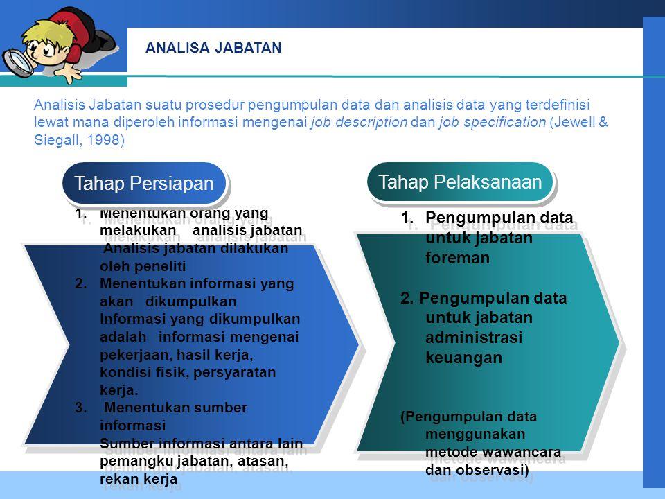 Company LOGO ANALISA JABATAN 1.Pengumpulan data untuk jabatan foreman 2.
