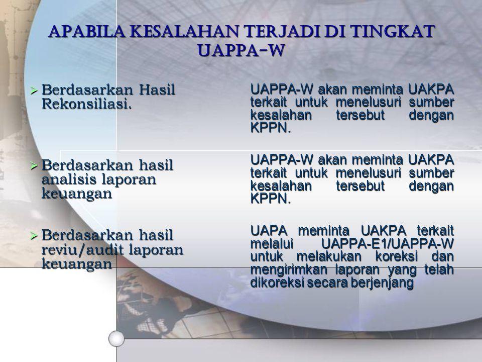 Apabila kesalahan terjadi di tingkat UAPPA-W  Berdasarkan Hasil Rekonsiliasi.  Berdasarkan hasil analisis laporan keuangan  Berdasarkan hasil reviu