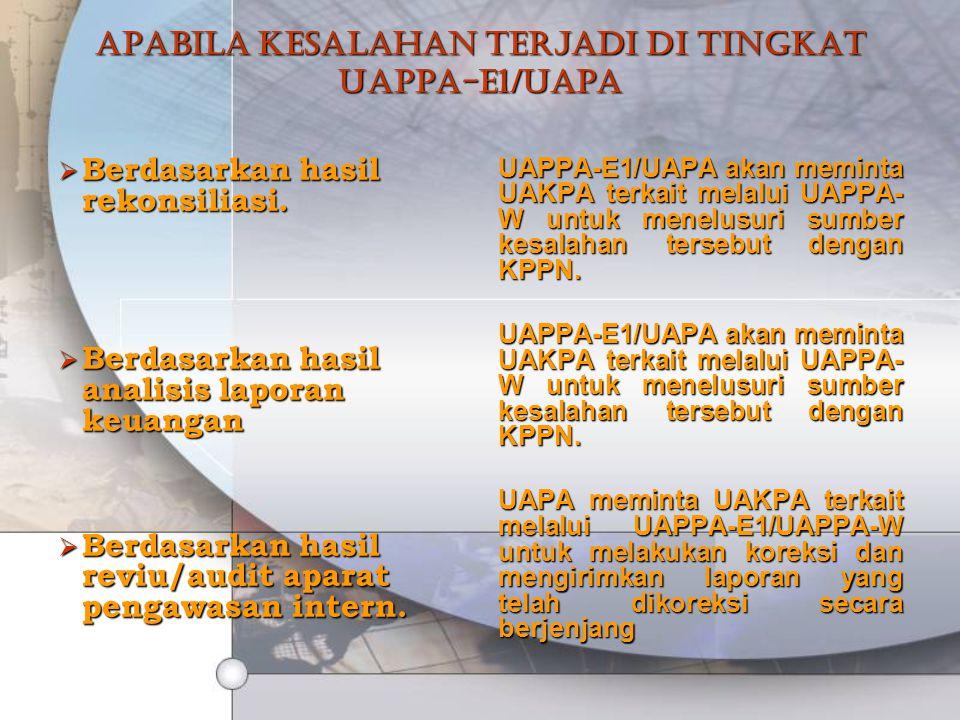 Apabila kesalahan terjadi di tingkat UAPPA-E1/UAPA  Berdasarkan hasil rekonsiliasi.  Berdasarkan hasil analisis laporan keuangan  Berdasarkan hasil