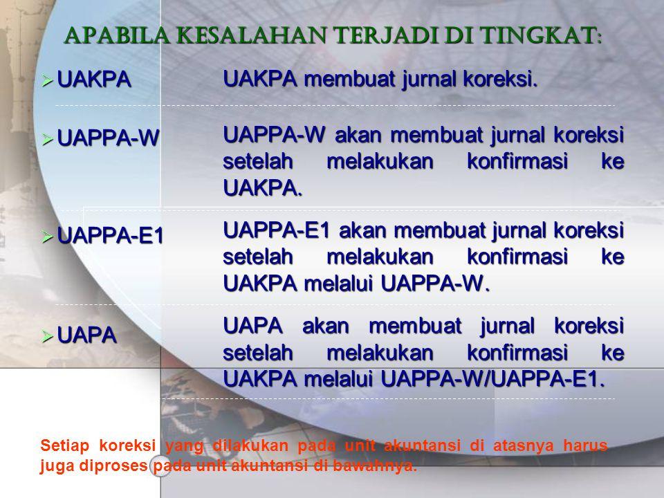 Apabila kesalahan terjadi di tingkat:  UAKPA  UAPPA-W  UAPPA-E1  UAPA UAKPA membuat jurnal koreksi. UAPPA-W akan membuat jurnal koreksi setelah me