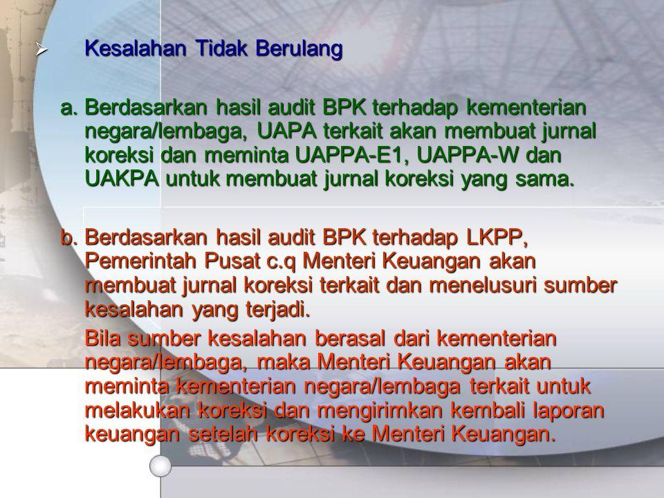  Kesalahan Tidak Berulang a.Berdasarkan hasil audit BPK terhadap kementerian negara/lembaga, UAPA terkait akan membuat jurnal koreksi dan meminta UAP