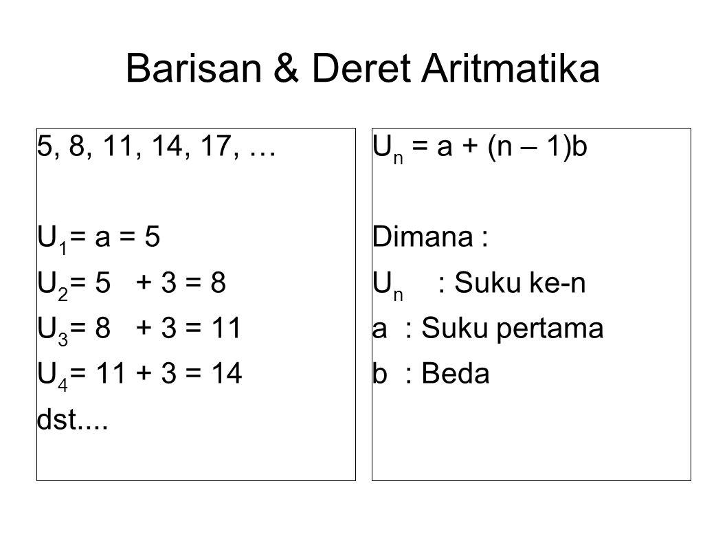 Barisan & Deret Aritmatika 5, 8, 11, 14, 17, … U 1 = a = 5 U 2 = 5 + 3 = 8 U 3 = 8 + 3 = 11 U 4 = 11 + 3 = 14 dst....
