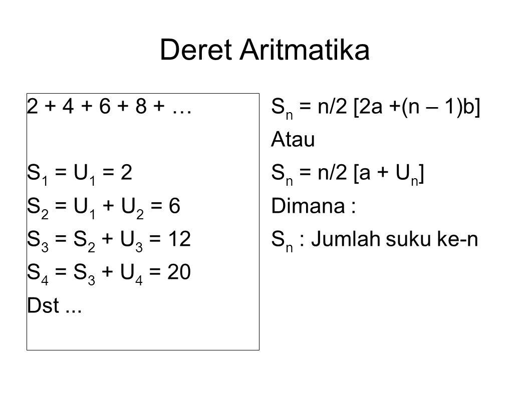 Deret Aritmatika 2 + 4 + 6 + 8 + … S 1 = U 1 = 2 S 2 = U 1 + U 2 = 6 S 3 = S 2 + U 3 = 12 S 4 = S 3 + U 4 = 20 Dst...