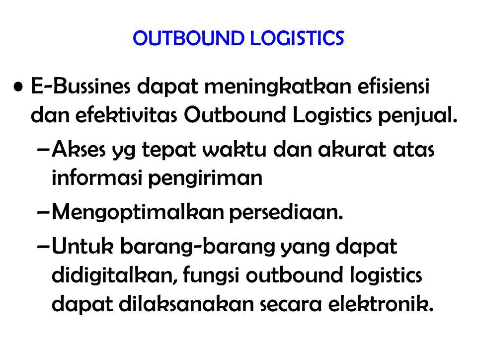 OUTBOUND LOGISTICS E-Bussines dapat meningkatkan efisiensi dan efektivitas Outbound Logistics penjual. –Akses yg tepat waktu dan akurat atas informasi