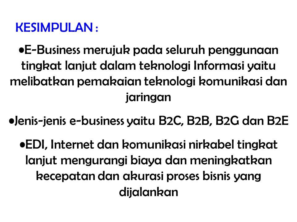 KESIMPULAN : E-Business merujuk pada seluruh penggunaan tingkat lanjut dalam teknologi Informasi yaitu melibatkan pemakaian teknologi komunikasi dan j