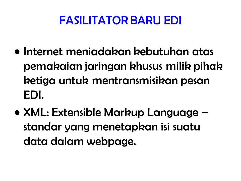 FASILITATOR BARU EDI Internet meniadakan kebutuhan atas pemakaian jaringan khusus milik pihak ketiga untuk mentransmisikan pesan EDI. XML: Extensible