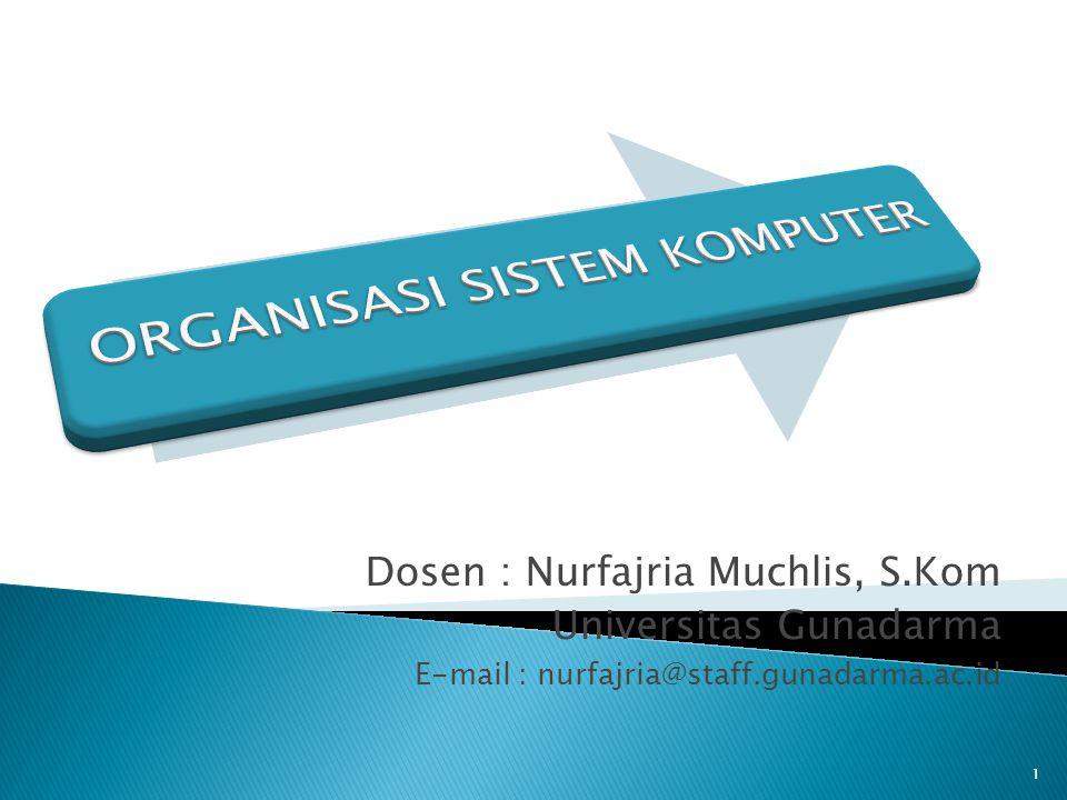 Dosen : Nurfajria Muchlis, S.Kom Universitas Gunadarma E-mail : nurfajria@staff.gunadarma.ac.id 1