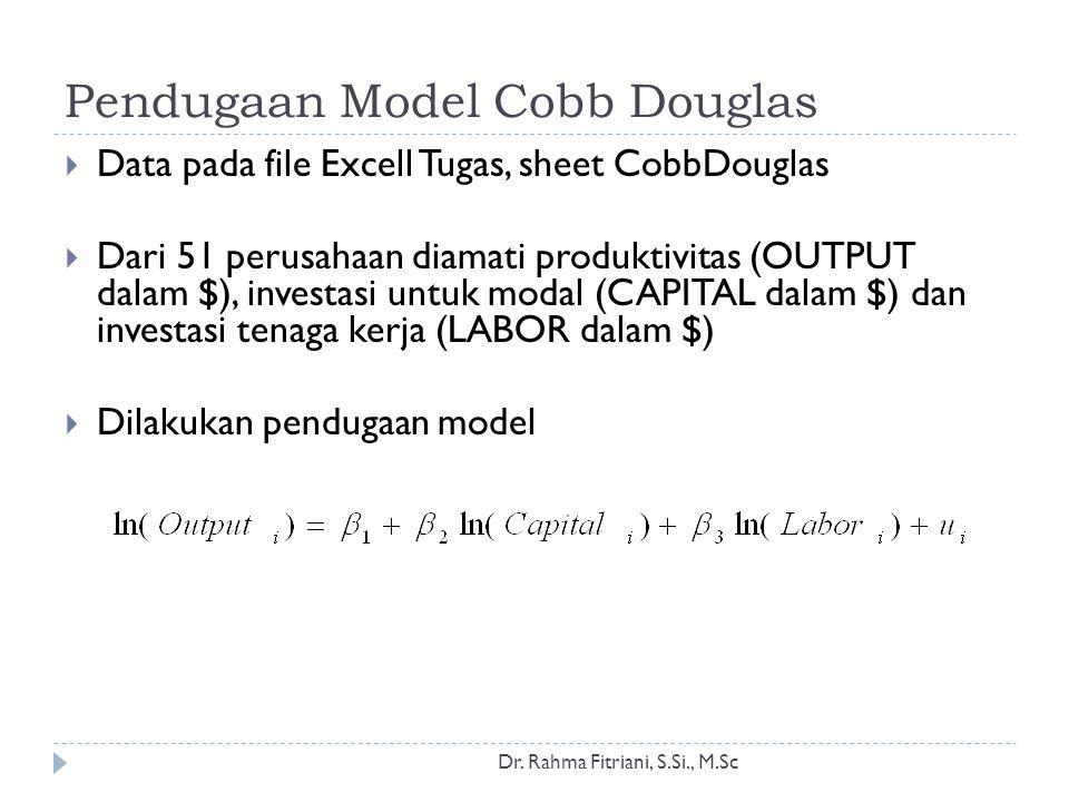 Pendugaan Model Cobb Douglas Dr. Rahma Fitriani, S.Si., M.Sc  Data pada file Excell Tugas, sheet CobbDouglas  Dari 51 perusahaan diamati produktivit