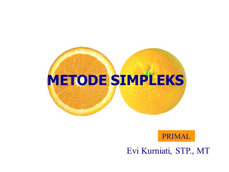 METODE SIMPLEKS Evi Kurniati, STP., MT PRIMAL