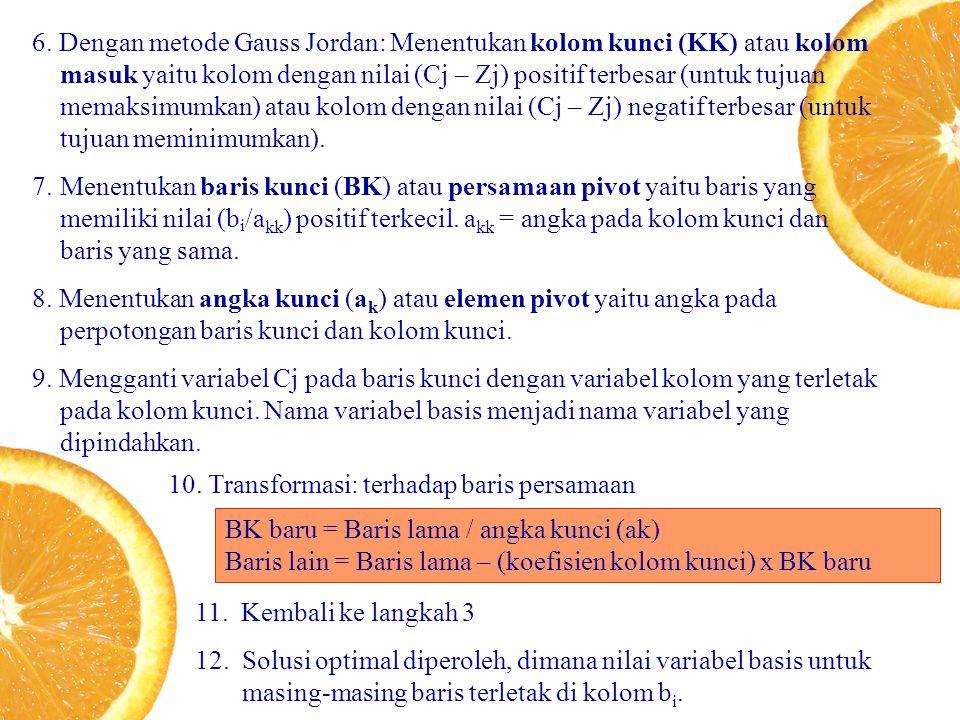 6. Dengan metode Gauss Jordan: Menentukan kolom kunci (KK) atau kolom masuk yaitu kolom dengan nilai (Cj – Zj) positif terbesar (untuk tujuan memaksim