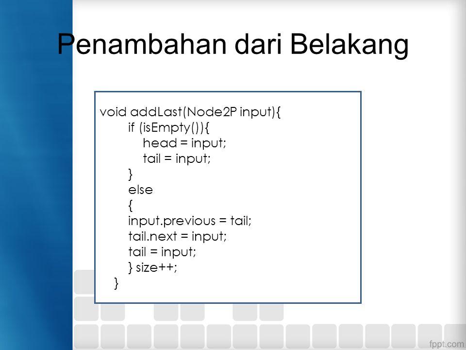 Penambahan dari Belakang void addLast(Node2P input){ if (isEmpty()){ head = input; tail = input; } else { input.previous = tail; tail.next = input; ta