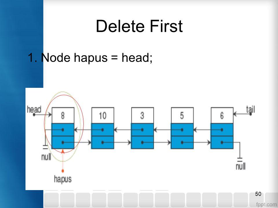 50 Delete First 1. Node hapus = head;