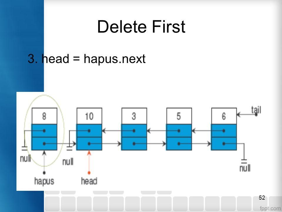 52 Delete First 3. head = hapus.next