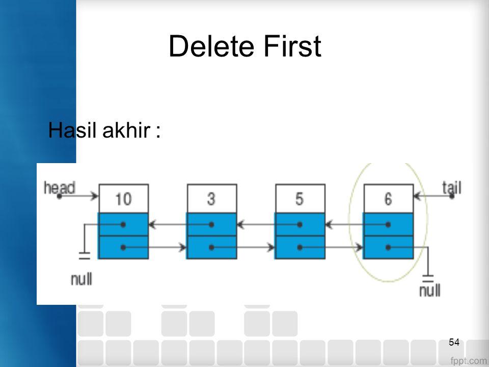 54 Delete First Hasil akhir :