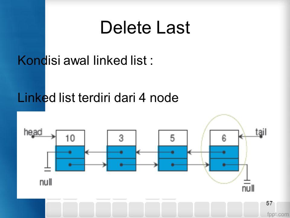 57 Delete Last Kondisi awal linked list : Linked list terdiri dari 4 node