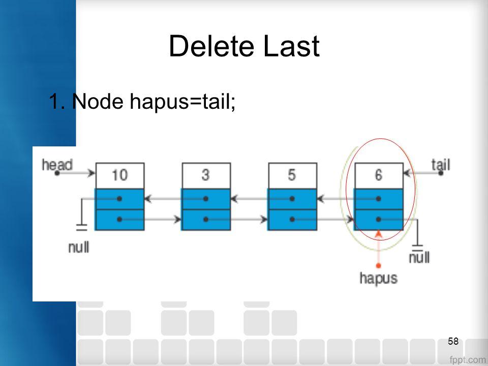 58 Delete Last 1. Node hapus=tail;