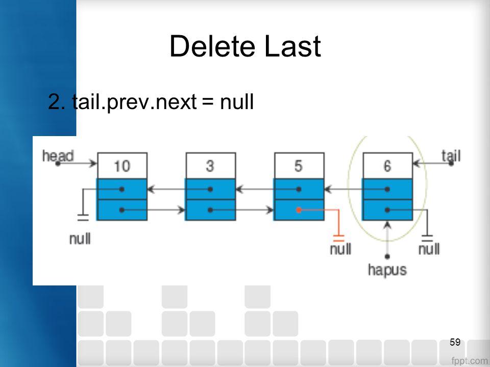 59 Delete Last 2. tail.prev.next = null