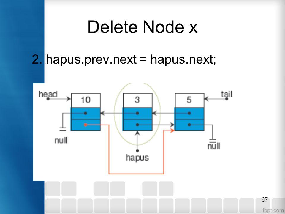 67 Delete Node x 2. hapus.prev.next = hapus.next;